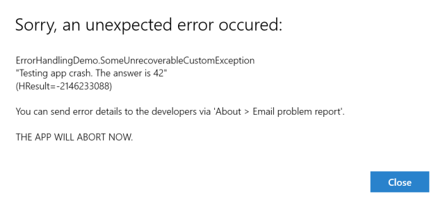 Error dialog from UnhandledException